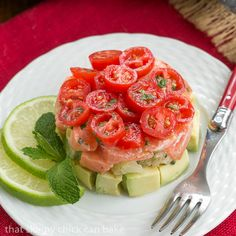 Salmon Tartare | An exquisite Dorie Greenspan recipe featuring avocados, raw salmon and tomatoes @lizzydo