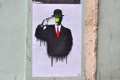 Magritte inspired suicide poster   Paste-up street art from Stokes Croft