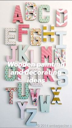 Decoupage Letters, Diy Letters, Nursery Letters, Letter A Crafts, Painted Letters, Cardboard Letters, Decorative Letters For Wall, Wall Letters Decor, Letters Decoration