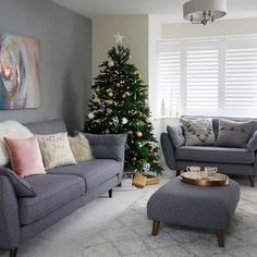 Pale grey living room with winter white textures. After festive living room ideas? This pale grey scheme is brought to life with a simple Christmas tree and snow white accessories. Decor To view further for this article, visit the image link.