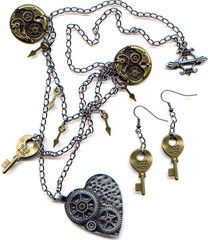 Steampunk necklace and earrings tutorial by Linda Jones, using materials from London Jewellery Supplies.