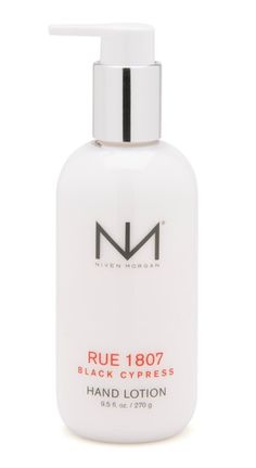RUE 1807 BLACK CYPRESS  Light, refreshing and non-greasy, this hydrating hand lotion is specifically formulated for quick absorption. Organic aloe vera blended with extracts of arnica, shea butter and algae restore and nourish. Use regularly. Find Niven Morgan bath & body at sunscreenwarehouse.com
