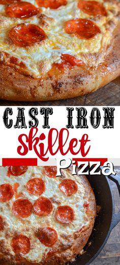 Cast Iron Skillet Pizza is the best way to make pizza at home. You have a crispy dough that is thick, topped with pizza sauce, and piled high with toppings. Cast Iron Pizza Recipe, Cast Iron Skillet Cooking, Iron Skillet Recipes, Cast Iron Recipes, Skillet Meals, Pizza Recipes, Cooking Recipes, Oven Cooking, Milk Recipes