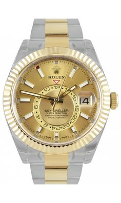 Rolex Sky-Dweller Champagne/ Index Oyster Steel & Yellow Gold 326933 Oyster Perpetual Cosmograph Daytona, Rolex Oyster Perpetual, Luxury Watches, Rolex Watches, Watches For Men, Sky Dweller, Rolex Datejust, Oysters, Champagne
