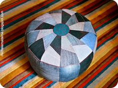 michele made me: Drop-Dead Denim: One Tough Pouf  I want to make this to cover my falling-apart foot stool poof! -TFD
