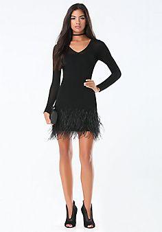 Feather Trim Sweater Dress