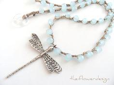 boho necklace, bohemian, necklace, ''DRAGONFLY'' crochet necklace, jade necklace, aqua, beach necklace, handmade, dragonfly. $52.00, via Etsy.