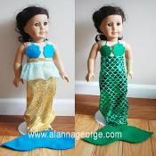 """For American Girl Dolls - doll costume sewing pattern and tutorial - Doll Mermaid Costume - via @Craftsy - little mermaid costume for 18"""" dolls"""