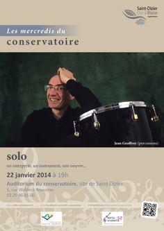Affiche pour les mercredis du conservatoire : solo. Mercredi 22 janvier 2014, à Saint-Dizier. Création originale.