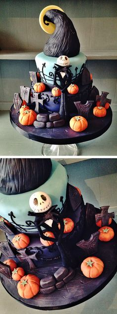18 Scary Halloween Cake Ideas - XO, Katie Rosario Jack Skellington Halloween Cake Nightmare Before Christmas Cake 18 weird Halloween cake ideas 18 Hauntingly Beautiful Halloween Cake Ideas – XO, Katie Rosario 85 Source by kaitkaitlan Halloween Desserts, Halloween Cupcakes, Bolo Halloween, Halloween Torte, Halloween Backen, Halloween Tags, Halloween Birthday, Haloween Cakes, Halloween