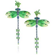 Lydia Courteille's Dragonfly earrings have hand-painted in enamel wings, tsavorite and sapphire body and emerald eyes. Discover our top 5 earrings and ear climbers for a fine jewellery and fashion forward gift for women: http://www.thejewelleryeditor.com/jewellery/top-5/top-5-on-trend-earrings-christmas-gift-ideas/ #jewelry