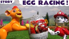 Lion Guard and Paw Patrol Surprise Egg Racing with Disney Cars Toys Insi...