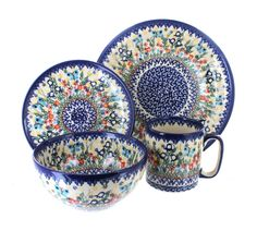 Blue Rose Polish Pottery Garden of Eden 4 Piece Place Setting - Service for 1 Mug Dinner, Dinner Sets, Ceramic Bakeware, Stoneware, Diy Tableware, Pottery Store, Safe Glass, White Kitchen Decor, Polish Pottery