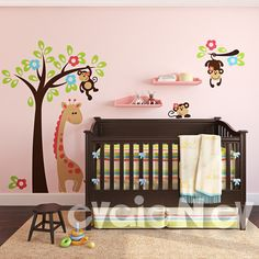 Nursery+Vinyl+Wall+Decal++Monkeys+on+the+Tree++Kids+by+evgieNev,+$135.00