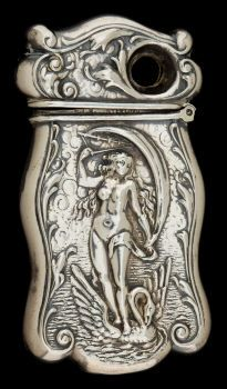 Match Safes, AN AMERICAN SILVER MATCH SAFE WITH CIGAR CUTTER   circa 1893.  STERLING, Lady in Nude with Swan