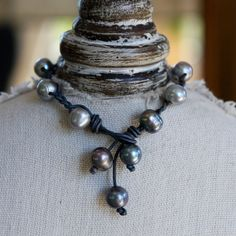 From a Portola Valley, CA Artist Grey pearl and stone washed grey leather by furstmandesigns, $45.00