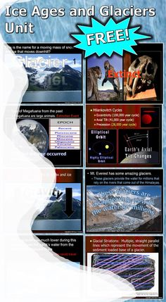 This is now a FREE 850+ slide PowerPoint presentation about ice ages, glaciers, and glacial landforms complete with built-in class notes (red slides), built-in questions, built-in activities with instructions, questions, answers, and much more.