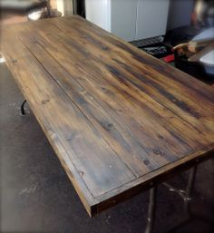 wooden folding table, Mo and I took the top off an old plastic folding table and made a new top. It turn out great.