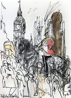 Feliks Topolski The Horse Parade, pen and ink on paper - Royal Horse Guard London Illustration, Love Illustration, London Poster, London Art, Georges Braque, Renaissance Art, Pastel, Gravure, Art Sketchbook
