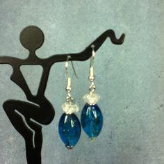 Pretty sparkly blue lampwork bead earrings... make an offer. :) @rumgr