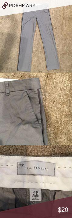Gap pants Gap true straight darker gray trim pants. Inseam is about 28.5 inches. Size 2R GAP Pants Straight Leg