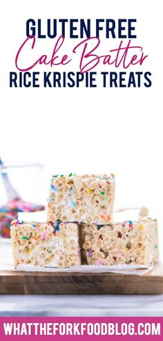 Classic Rice Krispies treats get a fun cake batter makeover complete with gluten free funfetti cake batter mixed right in. These are truly delicious gooey treats with sprinkles in every bite. They're perfect for birthday parties, holiday parties, and dessert tables for baby showers or bridal showers. Kids and adults will love them! Gluten Free no-bake dessert recipe from @whattheforkblog | more on whattheforkfoodblog.com | #glutenfree #nobake #dessert #easyrecipe #glutenfreerecipes…