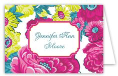 Perfect gift for Mom:  Chartreuse Fuschia Floral Folded Note Card