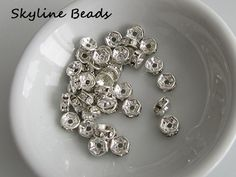 Brass Rhinestone Beads Rondelle Silver Color  6mm by SkylineBeads, $2.25