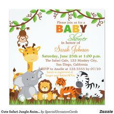Cute Safari Jungle Animals Baby Shower Invitation Wild