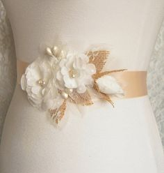 Rustic Pale Peach Wedding Dress Sash Belt with by SorellaSashes