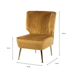 Product Features  Mustard Yellow Velvet Accent Chair Curved back Deep vertical pleating Overstuffed comfy seat Golden spindle legs Plush mustard coloured velvet Chair seat height: 45 cm    Product Dimensions  Width:63.00cm Height:86.00cm Depth:74.00cm   The post Mustard Yellow Velvet Accent Chair appeared first on Skerries Hardware and Pet Centre.