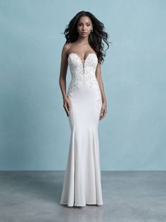 25594 - Jerica - This body hugging crepe gown is sure to make everyone swoon! Try this beauty on Aurora Bridal in Melbourne, FL 321-254-3880