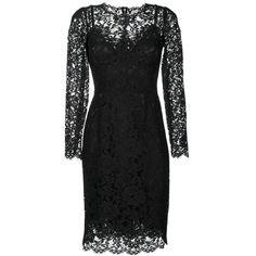 Dolce & Gabbana lace dress ($2,575) ❤ liked on Polyvore featuring dresses, black, floral print cocktail dress, three quarter sleeve dress, flower print dress, floral lace dress and lace dress