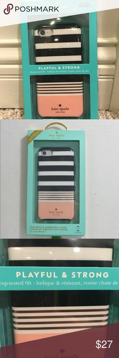 NIB Kate Spade phone case iPhone 6/7/8 This is a brand new Kate Spade iPhone case. Hard shell drop tested 6ft. Proven strong. Nice black white link in color also small metallic (rose gold) stripes. Very nice looking. Compatible with the iPhone 6/7 & 8. Smoke free. Brand new sealed in the box. Ships out within 24 hours. kate spade Accessories Phone Cases