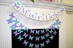 Butterfly Childrens name banner, Welcome baby butterfly garland, butterfly birthday banner, wedding garland, purple teal green butterflies