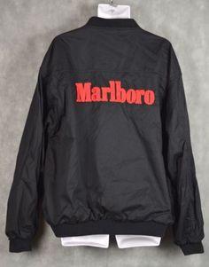 Vintage Marlboro Bomber Jacket Black Red Full zip Men s See Measurements a8214bb61eeb