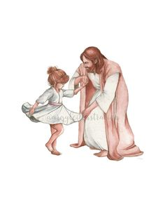Jesus dances with little girl Dancing With Jesus, Little Girl Dancing, Jesus Drawings, Jesus Painting, Watercolor Painting, Paintings Of Christ, Girl Paintings, Bibel Journal, Pictures Of Jesus Christ