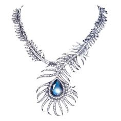 EVER FAITH Vintage Style Peacock Feather Teardrop Statement Necklace Austrian Crystal Blue N02358-1 $26