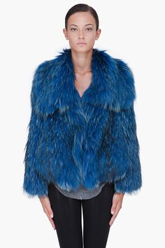 CO Blue Raccoon Fur Coat