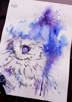 athena owl drawing with water colors - Google Search