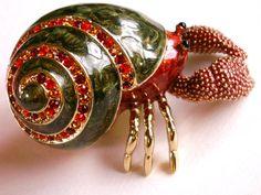 Rucinni Hermit Crab Enamel & Crystal Jewelry by dazzledbyvintage, $23.50