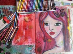 Art journaling redheaded beauty art journal page