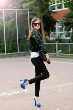 Varsity jacket and electric blue heels as seen on Style Scrapbook. by liz Look Fashion, Winter Fashion, Girl Fashion, Womens Fashion, Blue Fashion, Fashion Shoes, Prep Fashion, Curvy Fashion, Leather Fashion