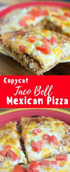 This copycat Taco Bell Mexican Pizza is even better than the original. They are super easy to throw together and taste totally delicious. Perfect for people who are trying to avoid fast food but still get a craving for a Mexican Pizza from Taco Bell! Taco Bell Recipes, Beef Recipes, Cooking Recipes, Chicken Recipes, Recipies, Easy Recipes, Tostada Recipes, Fondue Recipes, Recipe Chicken