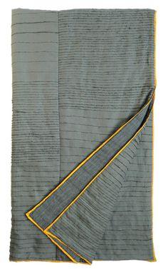 EKTA KAUL, SCRIBBLE QUILT: grey and ochre! #ekta_kaul #quilt #interior_design #textile_design
