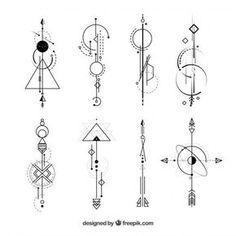 Colección de tatuajes con formas abstractas Vector Gratis