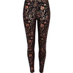 Black metallic printed leggings €33.00