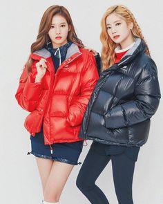 Dahyun and Sana Kpop Girl Groups, Korean Girl Groups, Kpop Girls, Nayeon, Sana Minatozaki, Twice Dahyun, Puffy Jacket, Europe Fashion, Twice Sana
