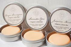 Four Vegan Organic Lotion Bars Set with Ginger Lemongrass, Jasmine Mint, Lavender Chai & Patchouli O