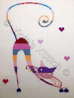 Cat in stripes modern cross stitch | Yiotas XStitch